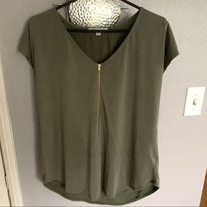 Green Envelope olive blouse too Size L